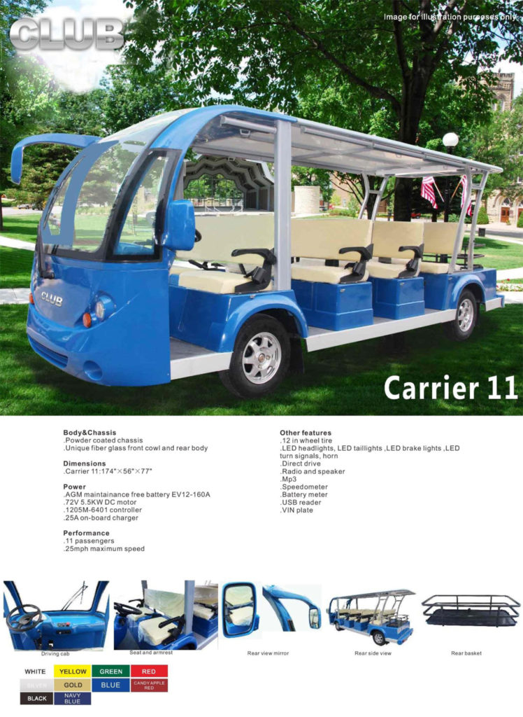 Carrier 11 golf cart specs
