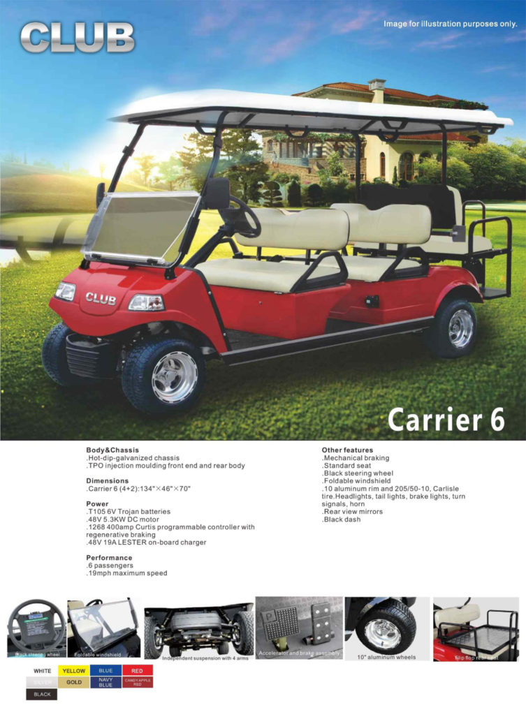 Carrier 6 Golf Cart specs