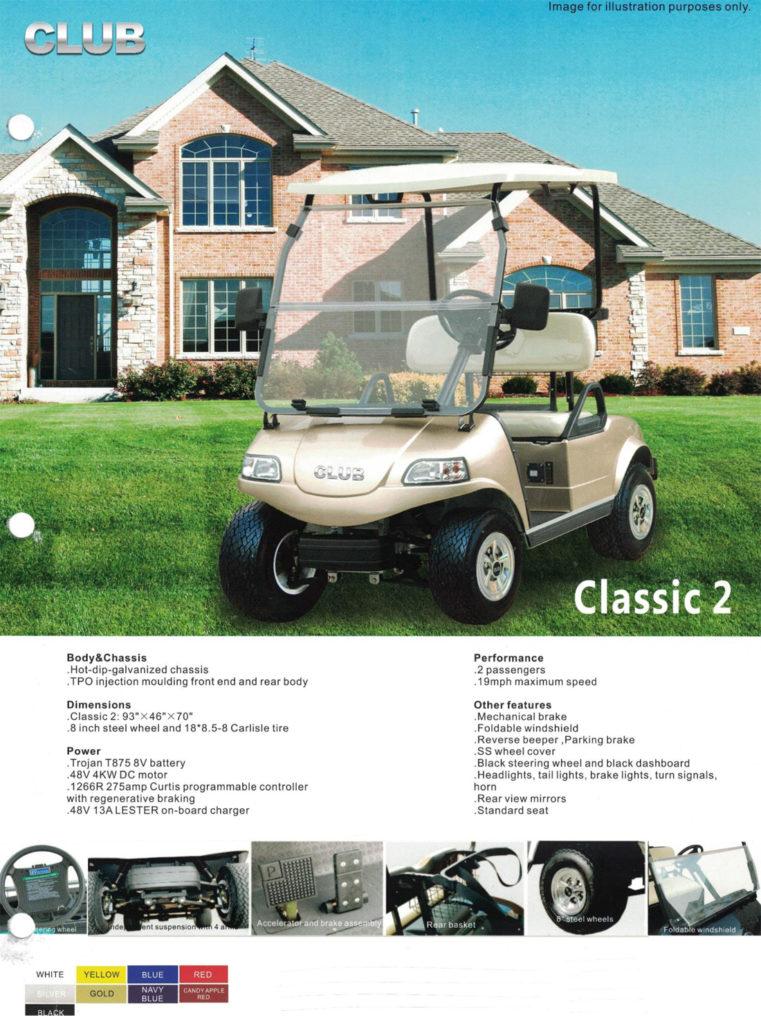 CLASSIC 2 Golf Cart Specs