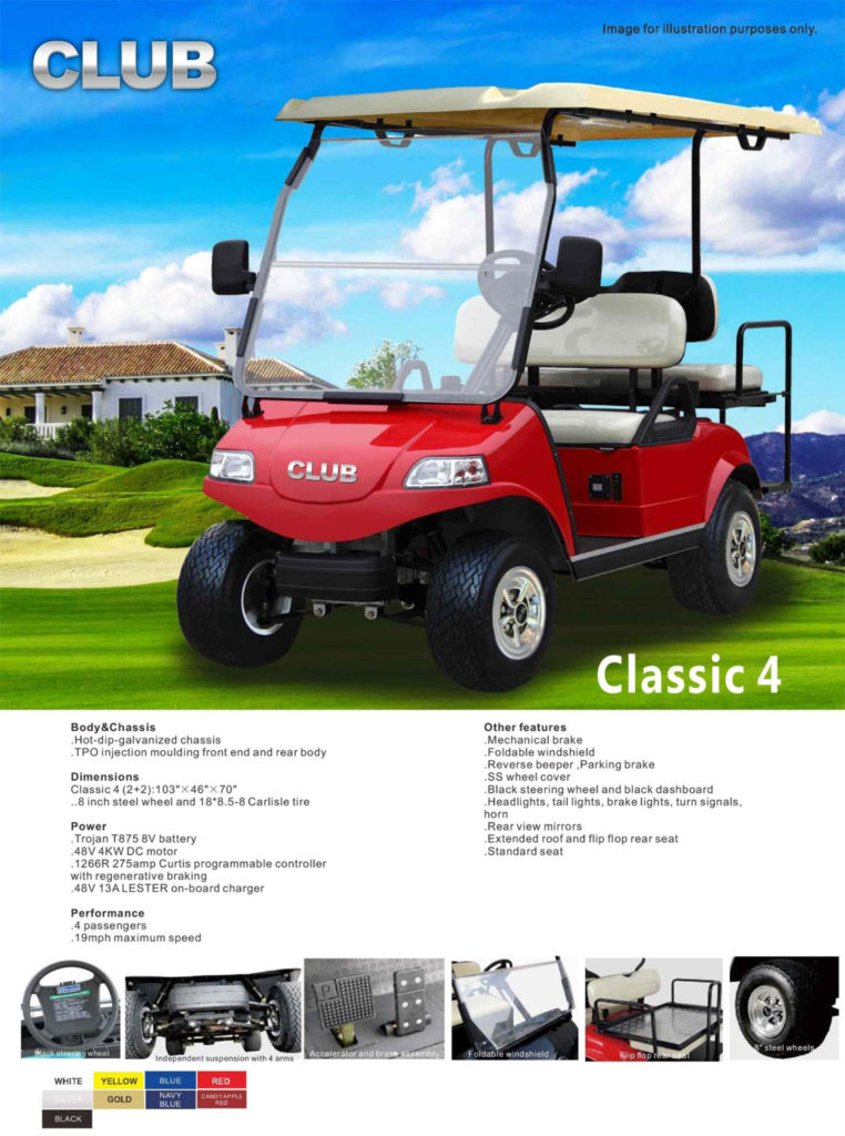 CLASSIC 4 golf cart specs