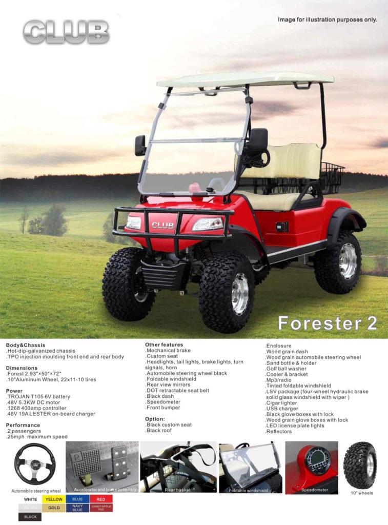 Forester 2 golf cart specs