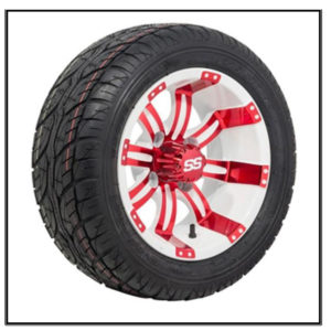 Set of (4) 12 inch Tempest White & Red Wheels on Lo-Pro Street Tires #A19-184
