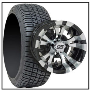 """Set of (4) 14"""" Vampire Machined Silver & Black Wheels on Lo-Pro Tires #A19-228"""