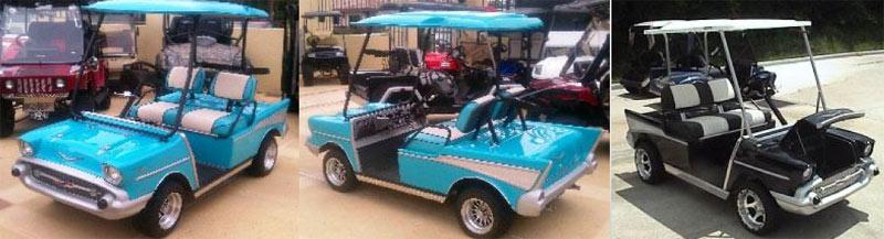 57 Classic Tail Fin custom golf cart body