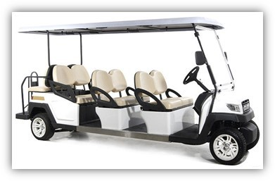 CLUB 8 SEATER WHITE ELECTRIC SIGHTSEEING CAR TOURIST  WITH ONBOARD 17AH CHARGER