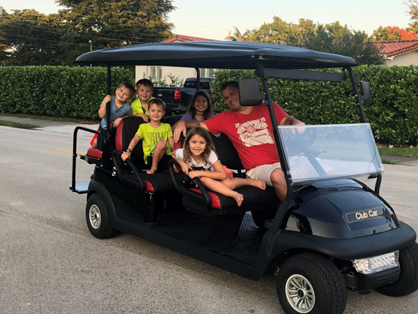Maria Wuerl Golf cart VIP customer
