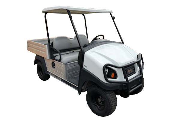 Pre own 2016 Club Car Carryall 500 Gas, White, gray seat, white top, brush guard, aluminum dump bead, factory light kit, fender flares SKU U266