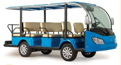 Blue 11 seats Motor KDS 72V 7.5KW Aluminium Electric Sightseeing Bus SKU#802E